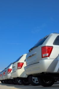 A fleet of Jeep Grand Cherokees awaiting a new home